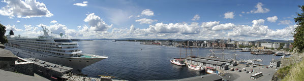 Harbour in Oslo. Norway. Oslofjord. The Oslo skyline and harbour seen from Akershus castle (about 180 degrees wide panorama Stock Photo