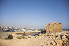 The harbour and Paphos medieval fort, Paphos, Cyprus Stock Image