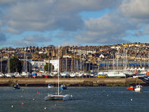 Harbour at Penzance. View across the inner harbour and marina towards the Cornish coastal town of Penzance Stock Photography