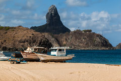 Harbour and Pico Hill Fernando de Noronha Brazil. The harbour with its boats and pico hill Stock Photography