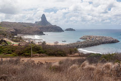 Harbour and Pico Hill Fernando de Noronha Brazil Royalty Free Stock Images