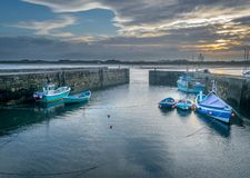 A harbour or port at dawn royalty free stock photo