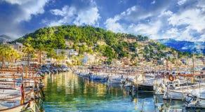 Harbour on Porte de Soller, Palma Mallorca, Spain. Harbour of Porte de Soller, Palma Mallorca, Spain stock photos