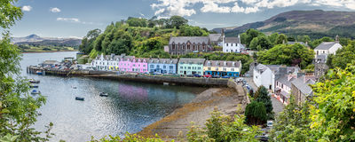 Harbour of Portree Isle of Skye, Scotland. HDR panorama royalty free stock photography