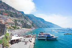 Positano resort, Italy. Harbour of Positano - famous old italian resort, Italy Stock Image