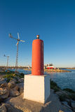 Harbour powered with renewable energy Stock Photo