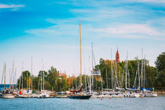 Harbour And Quay Yacht In Summer Day. Helsinki, Finland. Royalty Free Stock Image
