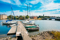 Harbour And Quay Yacht In Summer Day. Helsinki Royalty Free Stock Images