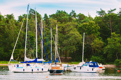 Harbour And Quay Yacht In Summer Day. Royalty Free Stock Photos
