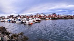 Harbour of Reine in a timelapse Stock Photos