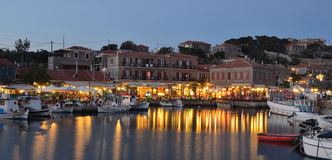 Harbour Restaurants Molyvos stock photo