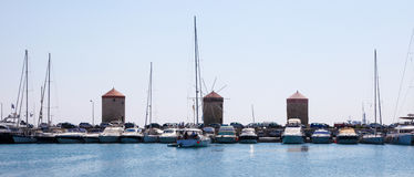Harbour at Rhodes, Dodecanese, Greece Royalty Free Stock Images