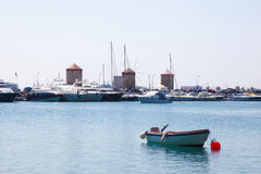 Harbour at Rhodes, Dodecanese, Greece Royalty Free Stock Image