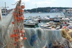 Harbour in Rovigno stock photo