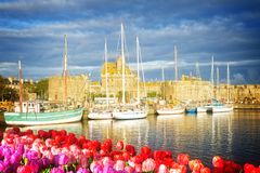 Harbour of Saint Malo, France. Harbour in old town of of Saint Malo at spring, Brittany, France royalty free stock images