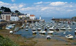 Harbour of Sauzon at island Belle-Ile-en-Mer Royalty Free Stock Photo
