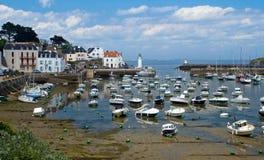 Harbour of Sauzon at island Belle-Ile-en-Mer Royalty Free Stock Photo
