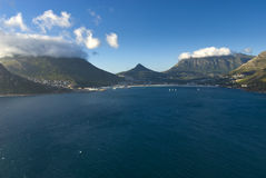 Harbour sea and mountains Stock Photography