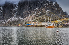 Harbour Seascape Against Snowy Mountains at Fishing Village at Lofoten Stock Image
