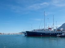 Harbour and see ship in Denia, Spain royalty free stock photos