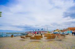 Harbour in Simrishamn, Sweden. SIMRISHAMN, SWEDEN - JUNE 19, 2015: Beautiful picturesque view of the harbour in Simrishamn Stock Image