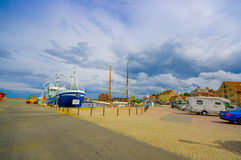 Harbour in Simrishamn, Sweden. SIMRISHAMN, SWEDEN - JUNE 19, 2015: Beautiful picturesque view of the harbour in Simrishamn Stock Photography