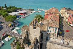 Harbour of Sirmione/Gardasee, Italy, Europe. The picture shows the harbour of Sirmione/Gardasee, Italy, Europe Royalty Free Stock Photo