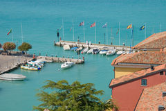 The harbour of Sirmione/Gardasee, Italy, Europe. The picture shows the harbour of Sirmione/Gardasee, Italy, Europe. Close-up Royalty Free Stock Photos