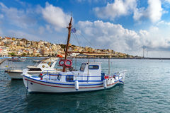 Harbour of Sitia town with parked fishing boats on Crete island, Greece Royalty Free Stock Photo