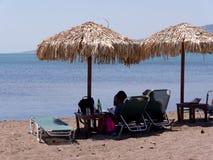 Harbour in Skala Kalloni on the island of Lesvos Greece stock photo