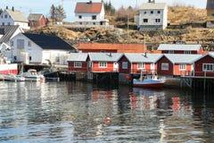 The harbour of Soervagen in Lofoten Royalty Free Stock Image