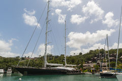 Harbour in St Lucia. Taken from a Catamaran off the coast of St Lucia Royalty Free Stock Image