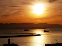 Harbour Sunset, Gibraltar Royalty Free Stock Photography