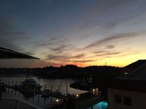 Harbour sunset. Sunset and new castle little harbour new royalty free stock photography