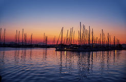 Harbour on sunset Royalty Free Stock Photos