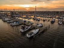 Harbour at sunset. This is an small sailing harbour in the netherlands Royalty Free Stock Image