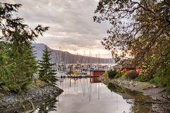 Harbour at sunset, Victoria, BC, Canada Royalty Free Stock Image
