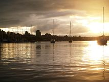 Harbour at sunstet Royalty Free Stock Photography