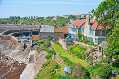 Harbour and surrounding area at Crail. Harbor and surrounding area at Crail, in the East Neuk of Fife,  at low tide Stock Image