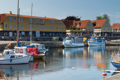 Harbour of Svaneke. The picturesque harbour port of Svaneke, Bornholm, Denmark with old timbered buildings in the background Royalty Free Stock Photography