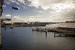Harbour in Sydney. Typical landscape of harbour of Sydney with Marittime Museum, Australia Royalty Free Stock Photo