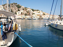 Harbour of Symi. Yialos, the harbour of Symi island, Greece stock images