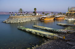 Harbour of Tiberias. The harbour of Tiberias on the lake of Galilee in the beginning twilight Stock Image