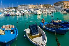 The harbour. Trani. Apulia. Italy. The harbour and Tiepolo square on the seafront. Trani. Apulia. Italy stock images