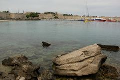 Harbour. The Harbour of the town of Rhodes in Greece royalty free stock images
