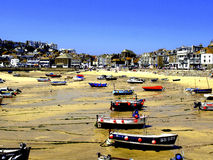 Harbour & town, St.Ives, Cornwall, UK. Colorful boats moored in the harbour at St.Ives,Cornwall Stock Photo