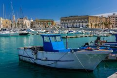 The harbour. Trani. Apulia. Italy. The harbour and Tiepolo square on the seafront. Trani. Apulia. Italy royalty free stock photo