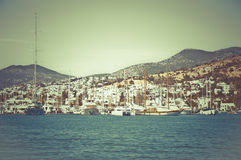 Harbour in Turkey. A beautiful landcape representing a harbour in Turkey stock images