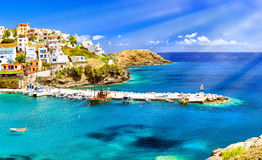 Harbour with vessels, boats and lighthouse in Bali, Crete Royalty Free Stock Photography