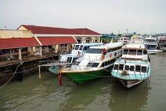 Harbour view. Ferry terminal on phuket island, thailand Stock Photos